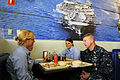 US Navy 090330-N-9818V-343 Master Chief Petty Officer of the Navy (MCPON) Rick West sits with Airman Recruit Kelli Neuenswander, Airman Recruit Ashley Hoover and Airman Recruit Rachel Reasey.jpg