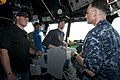 US Navy 100328-N-2735T-059 New Orleans Saints tight end Billy Miller, Kansas City Chiefs linebacker Donnie Edwards, and New Orleans Saints quarterback Drew Brees visit USS Nassau (LHA 4) during a USO Tour.jpg