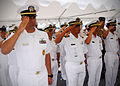 US Navy 100510-N-0995C-070 oyal Brunei and U.S. sailors render a hand salute aboard the amphibious dock landing ship USS Tortuga (LSD 46).jpg