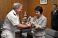 US Navy 110510-N-2986M-001 Capt. Eric Gardner, left, commanding officer of Naval Air Facility Atsugi, presents Yokohama Mayor Fumiko Hayashi an Ope.jpg