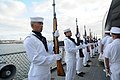 US Navy 110709-N-XD424-096 The Arizona Detachment Honor Guard presents arms during a memorial ceremony aboard USS Missouri Memorial in honor of Har.jpg