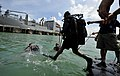 US Navy 110818-N-KB666-179 Cpl. Luis Escudero, a Panamanian navy diver, conducts a front step water entry.jpg