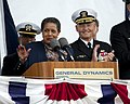 US Navy 111112-N-VY256-161 Myrlie Evers-Williams, widow of civil rights activist Medgar Evers, delivers remarks during the christening ceremony for.jpg