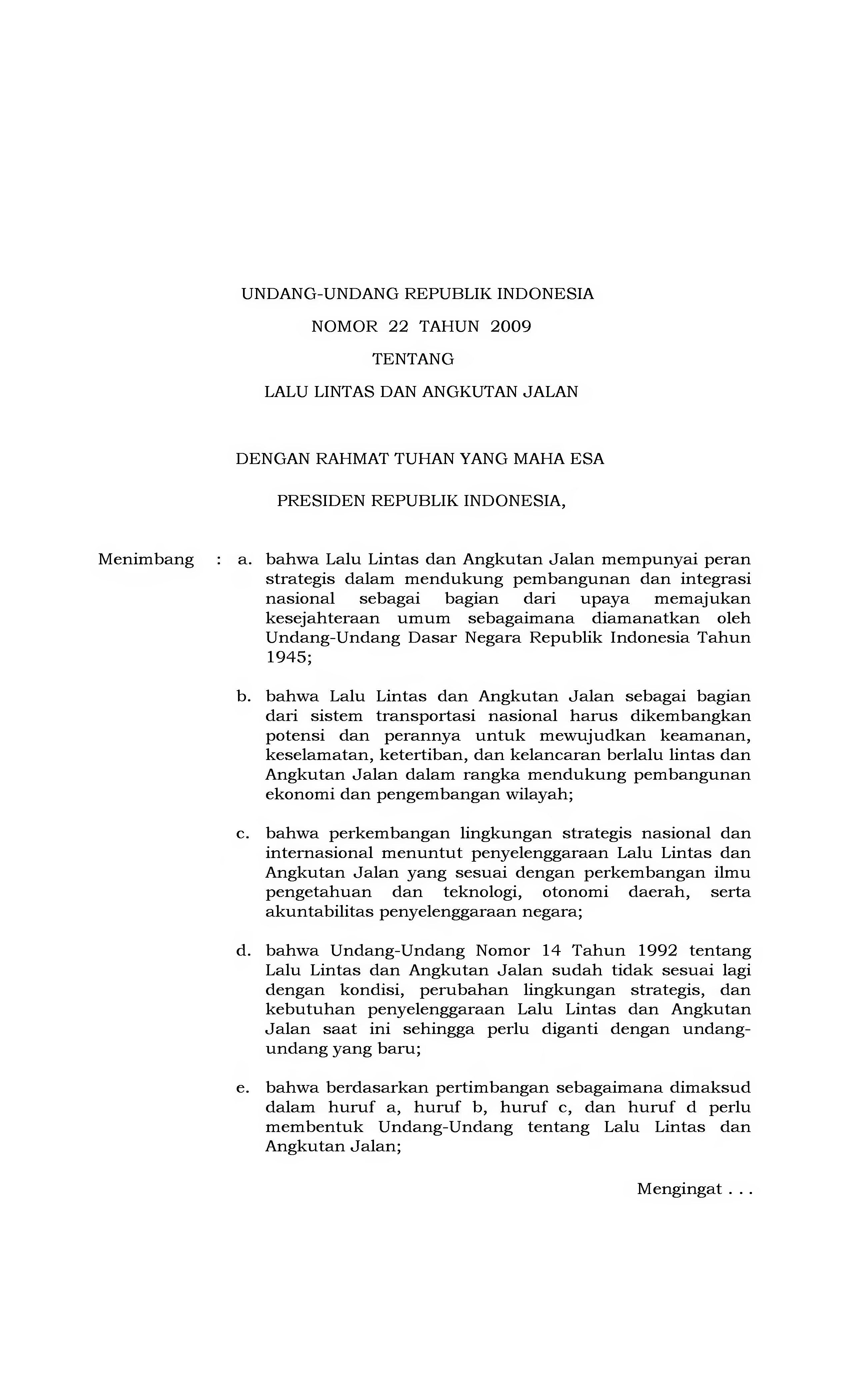 Undang Undang Lalu Lintas Indonesia