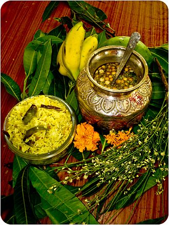 Ugadi - Ugadi Pacchadi (right) is a symbolic dish prepared by Hindu women on this festival