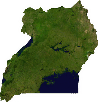Geography of Uganda - A satellite map of Uganda.