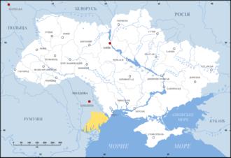 Budjak - Budjak on the map of Ukraine