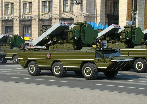 Ukrainian 9k33 Osa SAMS during the Independence Day parade in Kiev