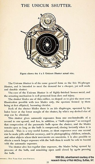 Bulb (photography) - Image: Unicum shutter advertisement 1898