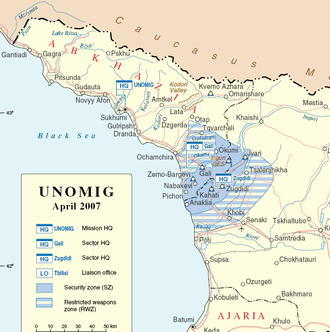 United Nations Observer Mission in Georgia - Map showing security zone