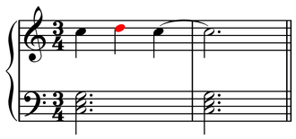 Nonchord tone - Image: Upper neighbor note example 1