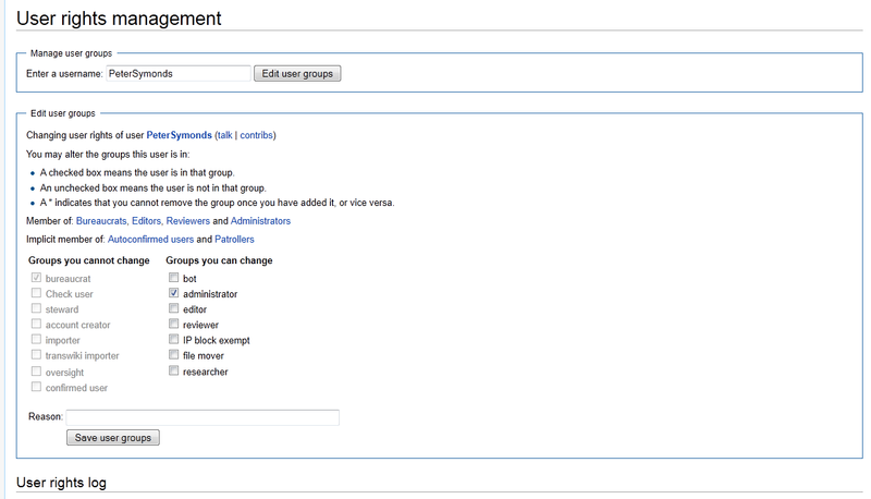 Screenshot showing the interface of Special:UserRights on a local wiki.