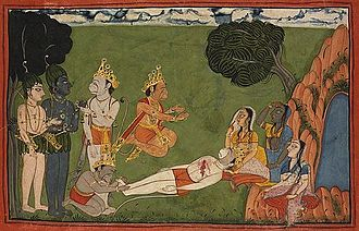 Tara (Ramayana) - Tara (right), depicted as a human, wailing with dying Vali in her arms