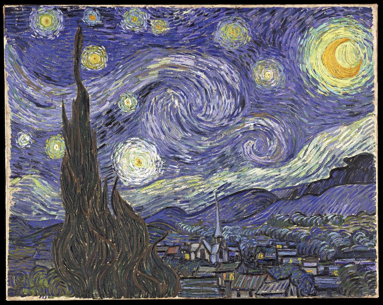 Noapte înstelată. Sursă:  https://ro.wikipedia.org/wiki/Noapte_%C3%AEnstelat%C4%83