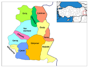 Location of Gürpınar (District), Van within Tu...