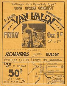Flyer handed out at La Canada High School show. Ed playing an Ibanez Destroyer. Van halen flyer.jpg