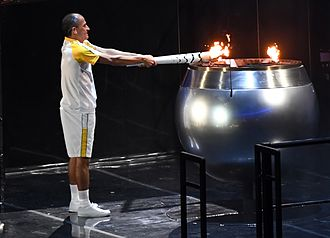 Olympic Games ceremony - Vanderlei de Lima lights the Olympic cauldron during the opening ceremony of the Rio 2016 Summer Olympics