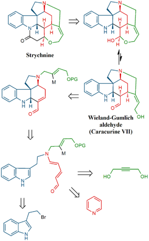 Strychnine total synthesis - Image: Vanderwal strychnine retro