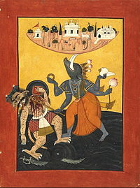 A blue skinned four armed Human with a boar's head decapitates a demon with a sword besides balancing a piece of land on the tusks.