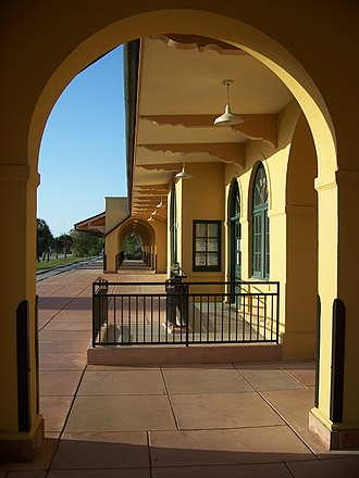 Venice Seaboard Air Line Railway Station - View of platform of the Venice SAL Depot through archway.