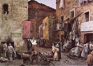Sant'Angelo, Rome -  Disappeared Ghetto: via Rua in a watercolour by Ettore Roesler Franz (ca 1880 ). Via Rua (Rua is a word analogue to the French rue) was the main road in the old Ghetto. There were active many shops of second-hand clothes.