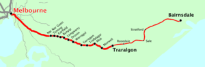 Bairnsdale line map