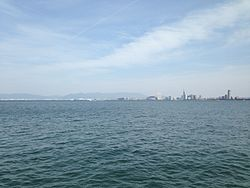 View of Hakata Bay and center of Fukuoka City from Noko Island View of Hakata Bay and Fukuoka City from Nokonoshima Island 20140506.JPG