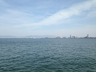 Hakata Bay - View of Hakata Bay and center of Fukuoka City from Noko Island