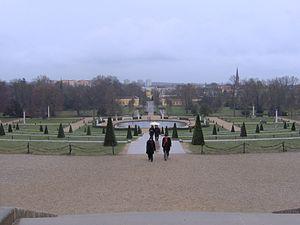 Os jardins em terraço, vistos a partir do palácio, em direcção ao parque de Sanssouci.