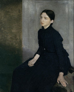Vilhelm Hammershøi - Portrait of a young woman. The artist's sister Anna Hammershøi - Google Art Project