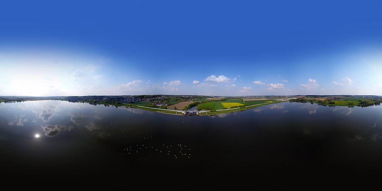 a 360° panorama photo from above the Vilstalsee in Bavaria
