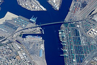 The Vincent Thomas Bridge is at Terminal Island. Vincent Thomas bridge.San Pedro.JPG