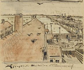 sketch of roofs seen from the artists attic window in letter 251 f