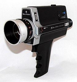Vintage Bell & Howell Focus-Matic 671 XL Super 8 Zoom Movie Camera, Made In Japan, Circa 1973 (27938881080).jpg