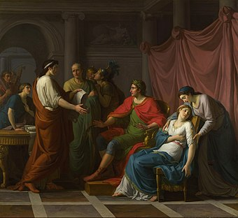 Virgil reading the Aeneid to Augustus and Octavia, by Jean-Joseph Taillasson, 1787 VirgilAeneidVI.jpg