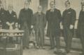 Visita do ministro Melo Barreto a Londres, em 1920, no Ritz-Hotel (com Lord Blyth, Sir Maurice de Bunsen, Manuel Teixeira Gomes, Lord Curzon of Kedleston, e Sir Alfred Mond) - Ilustração Portuguesa (15Nov1920).png