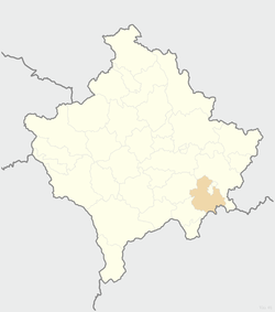 Location of the municipality of Vitina within Kosovo