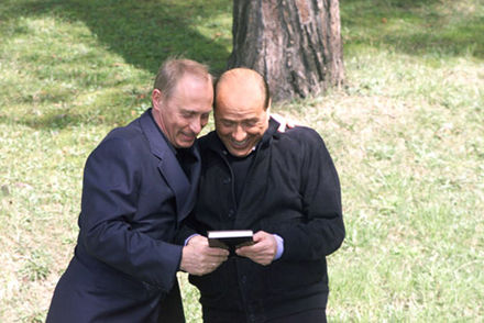 Putin with Italian Prime Minister Silvio Berlusconi. The two leaders built up a close friendship Vladimir Putin 2 April 2002-2.jpg