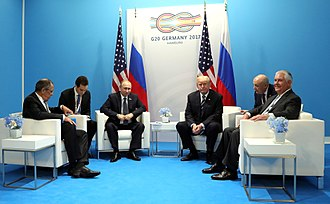 U.S. President Donald Trump, Russian President Vladimir Putin, Rex Tillerson, and Sergey Lavrov at the G20 Hamburg summit, July 7, 2017 Vladimir Putin and Donald Trump at the 2017 G-20 Hamburg Summit (5).jpg