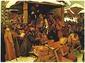 Raskol - A scene from the times of the Raskol, by Sergey Ivanov