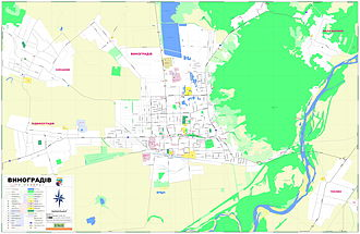 Vynohradiv - Street map of Vynohradiv and surrounding area (Ukrainian).