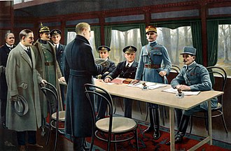 Armistice of 11 November 1918 - Painting depicting the six signatories of the Armistice in the railway carriage with other participants. From left to right are German Admiral Ernst Vanselow, German Count Alfred von Oberndorff of the Foreign Ministry, German General Detlof von Winterfeldt (with helmet), British naval officer Captain Jack Marriott, and standing in front of the table, Matthias Erzberger, head of the German delegation.  Behind the table are two British naval officers, Rear-Admiral George Hope, First Sea Lord Admiral Sir Rosslyn Wemyss, and the French representatives, Marshal Ferdinand Foch (standing), and General Maxime Weygand.