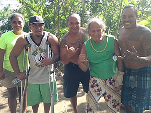 Coco Palms Resort - Noa Mau-Espirito (Second from Left), Charles Hepa (Center), Liko Martin (Second from Right) and other Wailua Land Claimants