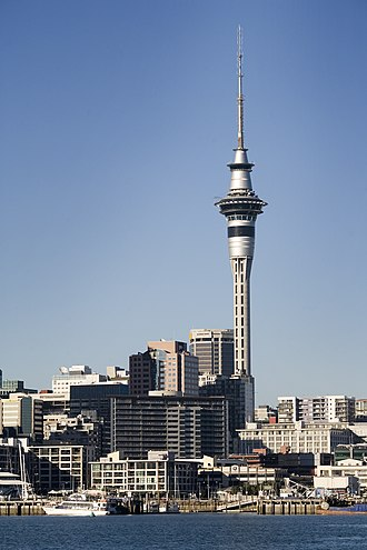 Sky Tower (Auckland) - The Sky Tower dominates the Auckland skyline, viewed from Waitematā Harbour. It broadcasts to the wider Auckland city region.