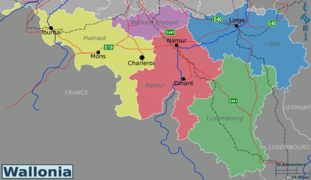 Wallonia travel map