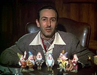 Walt Disney introduces each of the Seven Dwarfs in a scene from the original 1937 Snow White theatrical trailer.