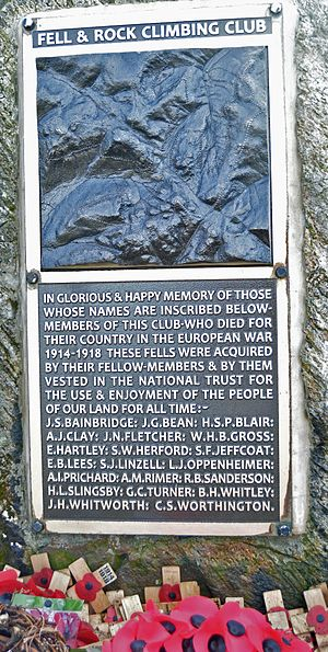 Great Gable - The Fell and Rock Climbing Club 1914-1918 War Memorial on the summit of Great Gable, Cumbria. This is the new plaque, which removed earlier errors.