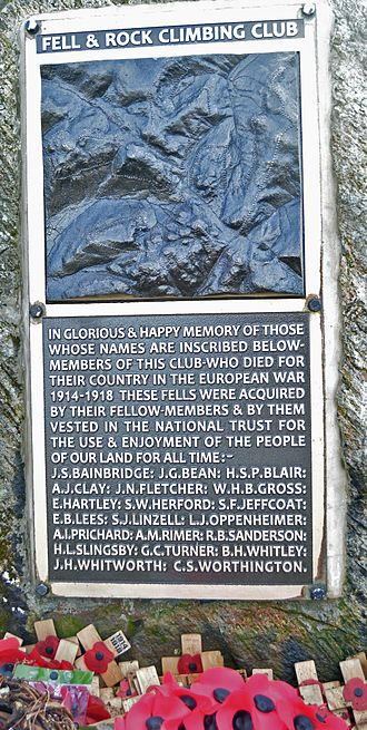 Great Gable - The Fell & Rock Climbing Club 1914-1918 War Memorial on the summit of Great Gable, Cumbria. This is the new plaque affixed in 2013, which removed earlier errors.