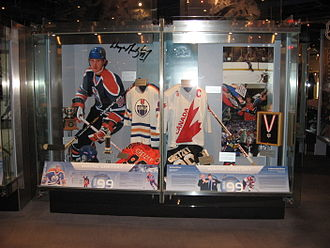 Hockey Hall of Fame - An exhibit at the Hockey Hall of Fame featuring Wayne Gretzky. Gretzky was one of ten players that saw the Hall's waiting period for inductees waived