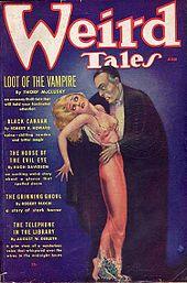 Couverture du magazine Weird Tales de juin 1936, montrant un vampire s'attaquant à une femme